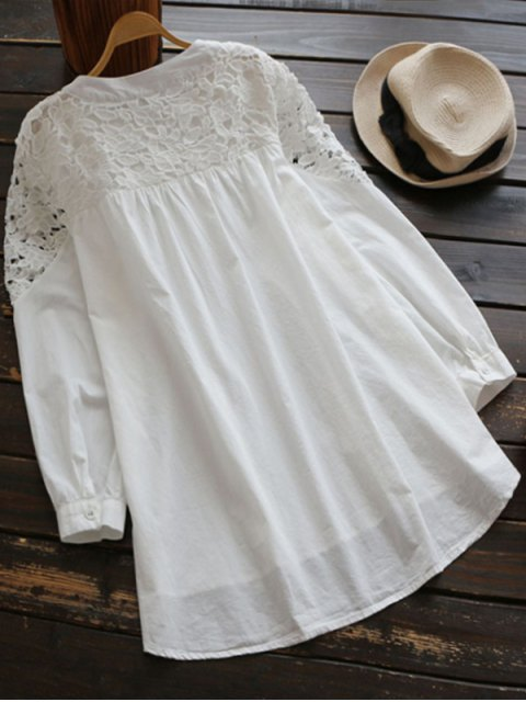 shop Lace Spliced High Low Smock Dress - WHITE ONE SIZE Mobile