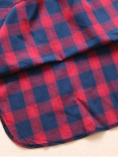 latest Pockets Plaid Tunic Flannel Shirt Dress - GREEN L Mobile