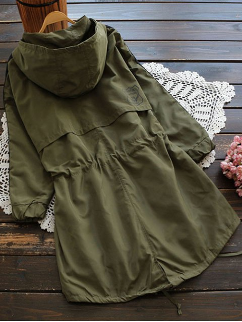 shops Hooded Drawstring Utility Trench Coat - ARMY GREEN S Mobile