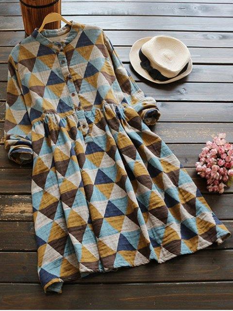 sale Stand Neck Argyle Dress - COLORMIX ONE SIZE Mobile