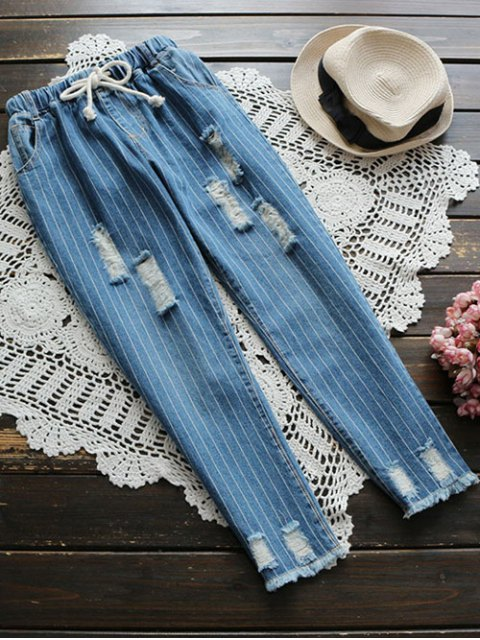 shop Drawstring Striped Ripped Jeans - BLUE XL Mobile