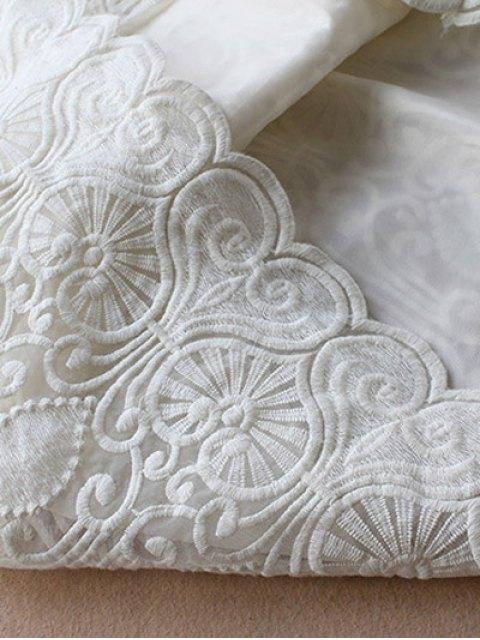 unique Retro Embroidered Mini Dress - WHITE M Mobile