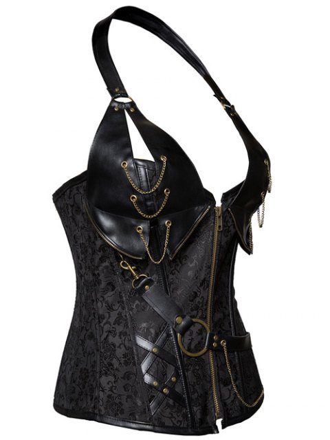 lady Halter Faux Leather Steel Boned Corset - BLACK 2XL Mobile