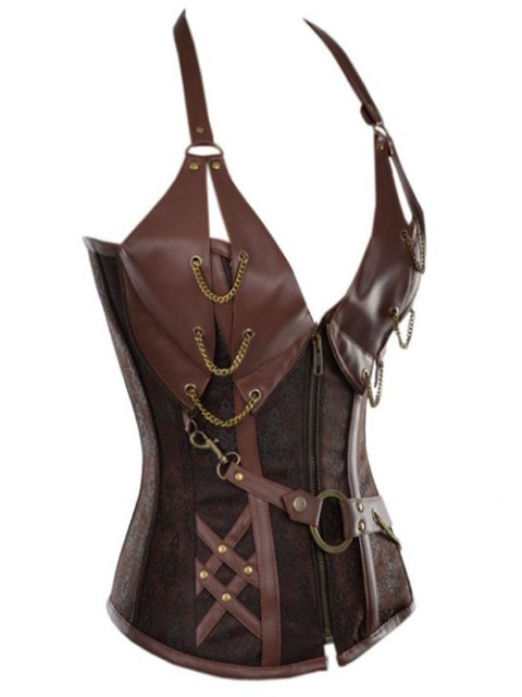 shops Halter Faux Leather Steel Boned Corset - COFFEE 3XL Mobile