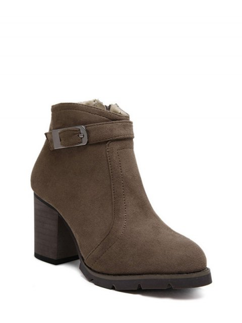 women Dark Colour Zipper Buckle Ankle Boots - DARK COFFEE 39 Mobile