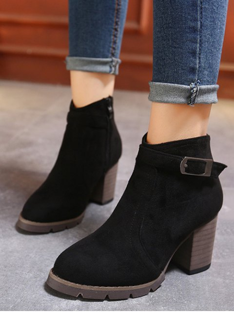 online Dark Colour Zipper Buckle Ankle Boots - BLACK 38 Mobile