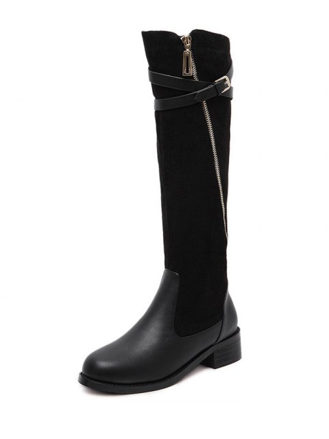 latest Cross Straps Buckle Splicing Boots - BLACK 39 Mobile
