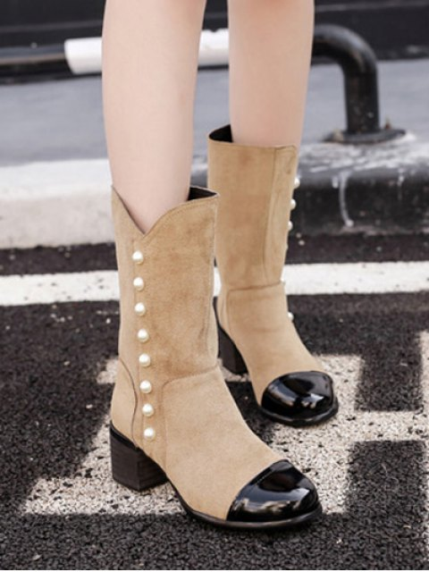 unique Faux Pearls Splicing Flock Mid-Calf Boots - APRICOT 38 Mobile