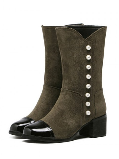 affordable Faux Pearls Splicing Flock Mid-Calf Boots - ARMY GREEN 37 Mobile