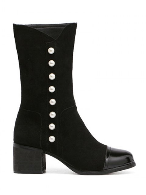 women Faux Pearls Splicing Flock Mid-Calf Boots - BLACK 37 Mobile