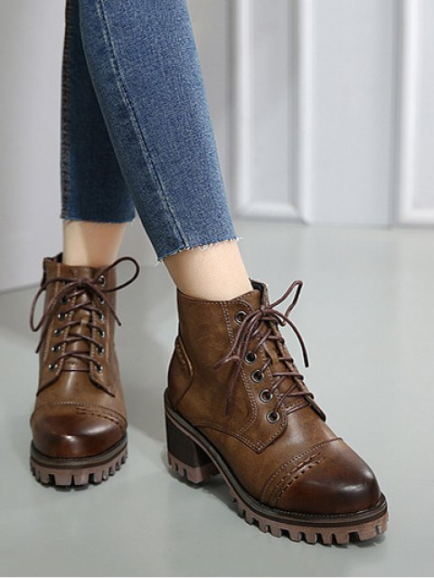 new Chunky Heel Platform Lace-Up Ankle Boots - BROWN 38 Mobile