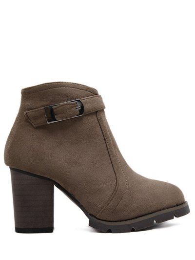 Dark Colour Zipper Buckle Ankle Boots - DARK COFFEE 39 Mobile