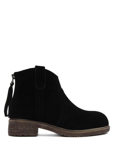 Zipper Dark Colour Suede Ankle Boots - BLACK 37 Mobile