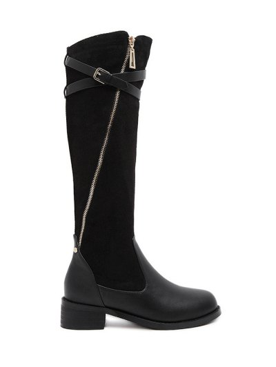 Cross Straps Buckle Splicing Boots - BLACK 39 Mobile
