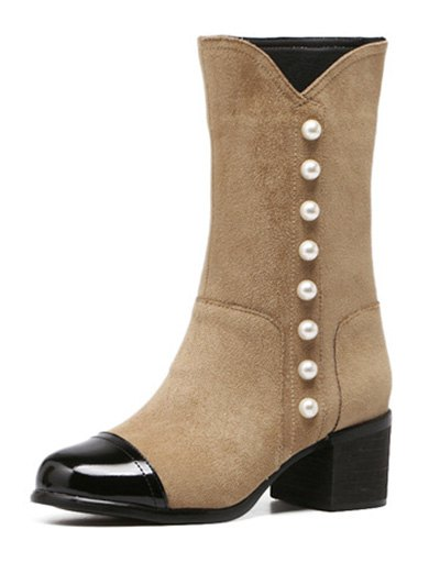 Faux Pearls Splicing Flock Mid-Calf Boots - APRICOT 39 Mobile