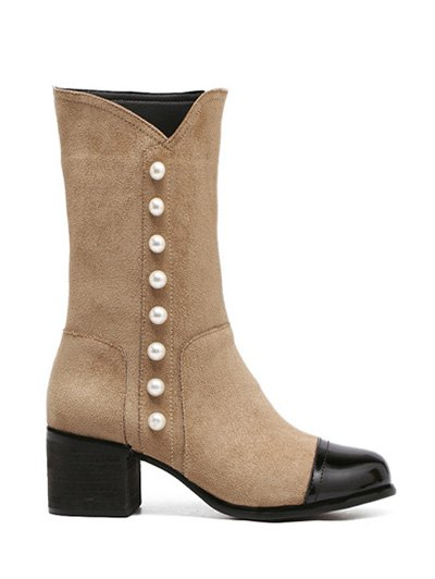 Faux Pearls Splicing Flock Mid-Calf Boots - APRICOT 38 Mobile