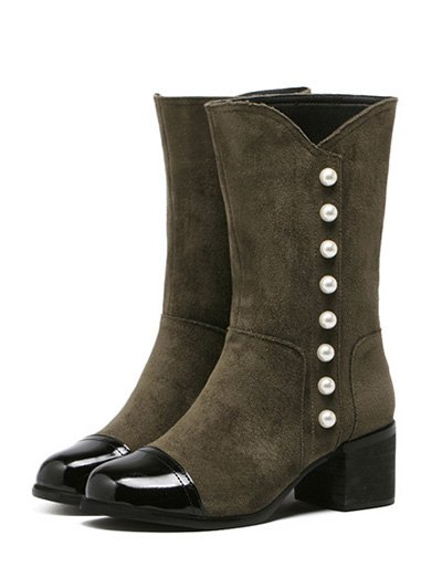 Faux Pearls Splicing Flock Mid-Calf Boots - ARMY GREEN 37 Mobile
