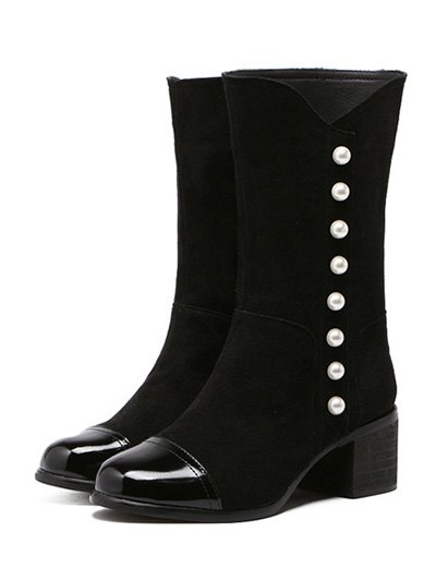 Faux Pearls Splicing Flock Mid-Calf Boots - BLACK 37 Mobile