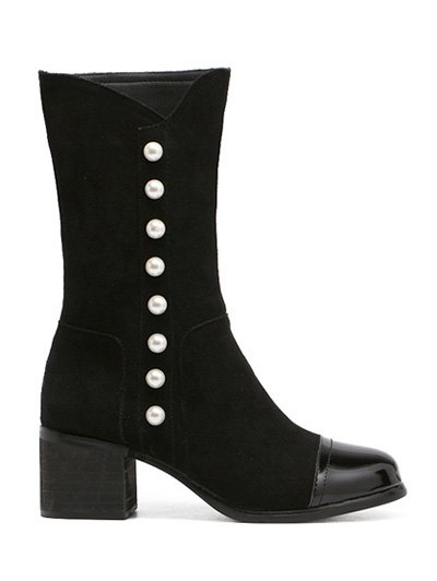 Faux Pearls Splicing Flock Mid-Calf Boots - BLACK 38 Mobile
