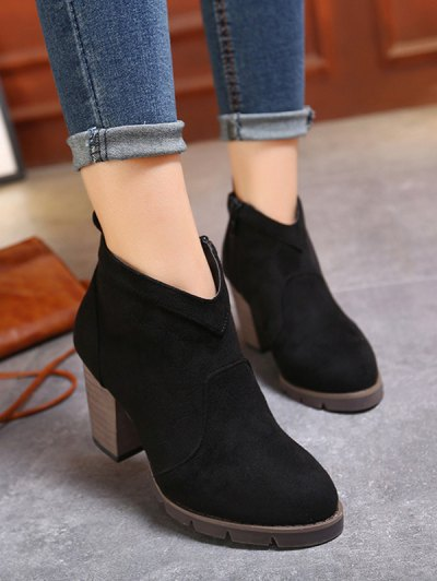 Suede Dark Colour Chunky Heel Ankle Boots - BLACK 38 Mobile