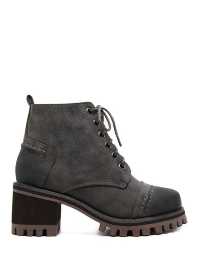 Chunky Heel Platform Lace-Up Ankle Boots - GRAY 39 Mobile