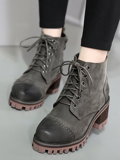 Chunky Heel Platform Lace-Up Ankle Boots - GRAY 38 Mobile