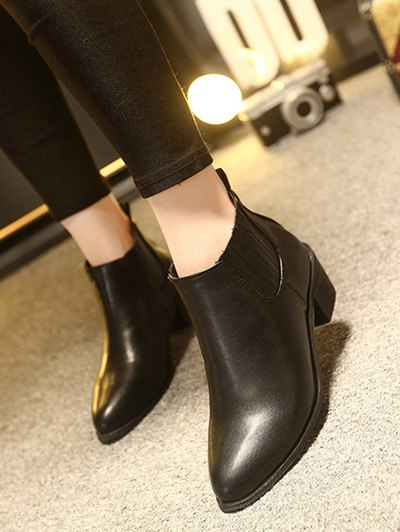 Stitching Chunky Heel Pointed Toe Ankle Boots - BLACK 37 Mobile