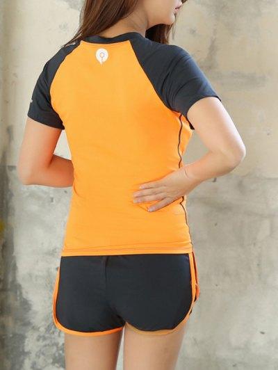 Raglan Sleeve Color Block T-Shirt and Fitting Gym Shorts от Zaful.com INT