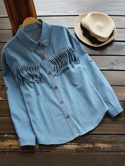 Fringes Denim Shirt - DENIM BLUE M Mobile