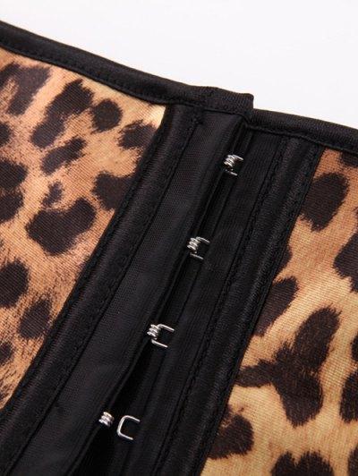 Leopard Pattern Steel Boned Waist Training Corset - LEOPARD 5XL Mobile