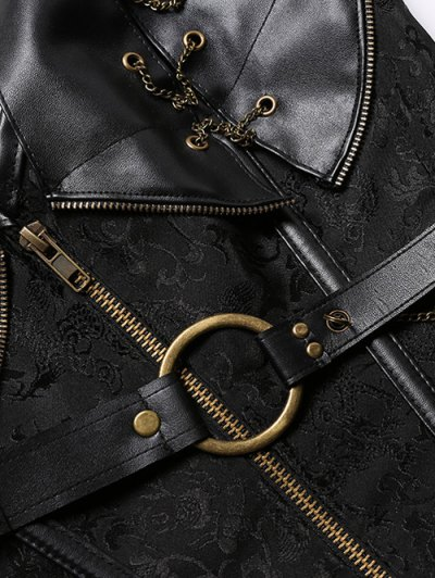 Halter Faux Leather Steel Boned Corset - BLACK 4XL Mobile
