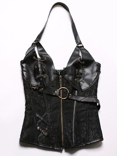 Halter Faux Leather Steel Boned Corset - BLACK 3XL Mobile