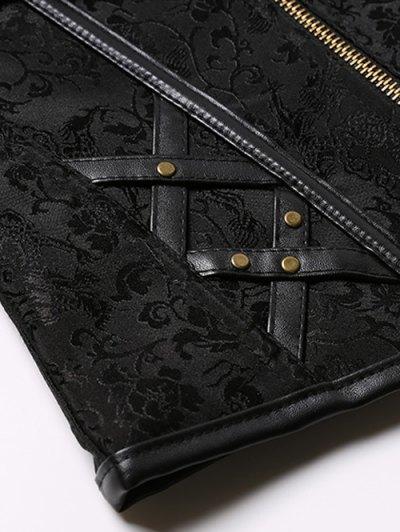 Halter Faux Leather Steel Boned Corset - BLACK 2XL Mobile