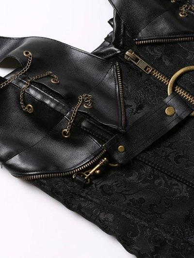 Halter Faux Leather Steel Boned Corset - BLACK L Mobile