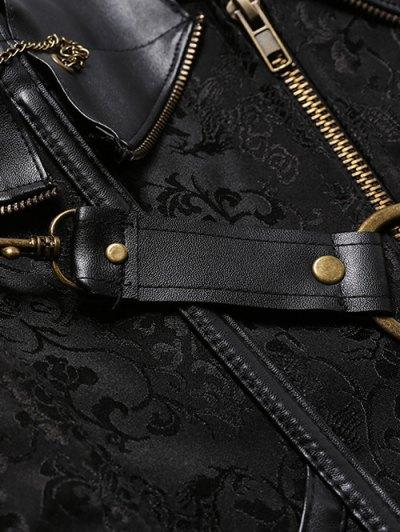 Halter Faux Leather Steel Boned Corset - BLACK M Mobile