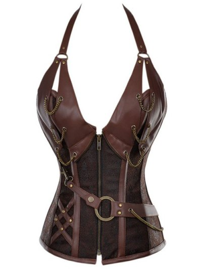 Halter Faux Leather Steel Boned Corset - COFFEE XL Mobile