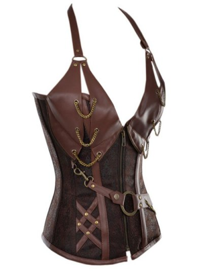 Halter Faux Leather Steel Boned Corset - COFFEE L Mobile