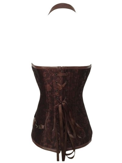 Halter Faux Leather Steel Boned Corset - COFFEE M Mobile