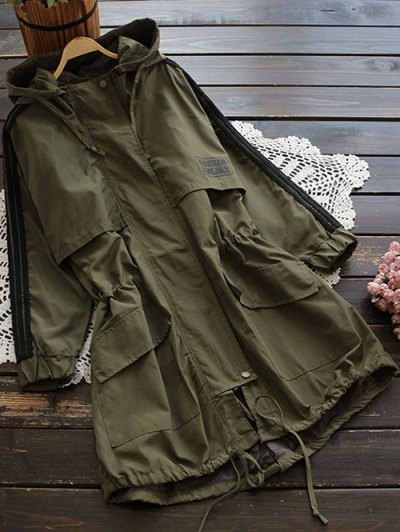 Hooded Drawstring Utility Trench Coat - Army Green