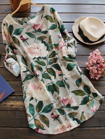 Floral Long Sleeve Linen Blouse Dress - Floral