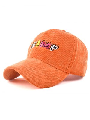 CRIMP Embroidery Corduroy Baseball Hat - Sweet Orange