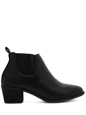 Stitching Chunky Heel Pointed Toe Ankle Boots - Black