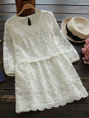 Retro Mini Vestido Bordado - Blanco