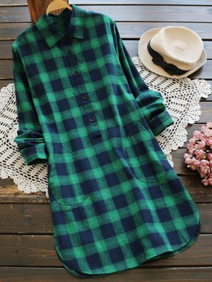 Pockets Plaid Tunic Flannel Shirt Dress - Green