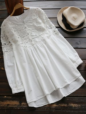Lace Spliced High Low Smock Dress - White