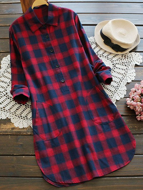 Casual Pockets Checked Shirt Dress