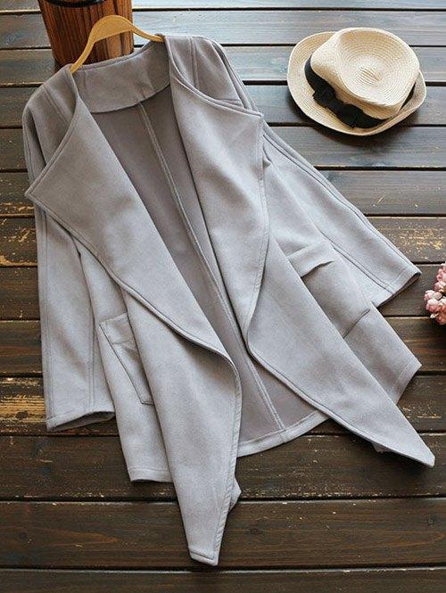 Drape Front Suede Coat