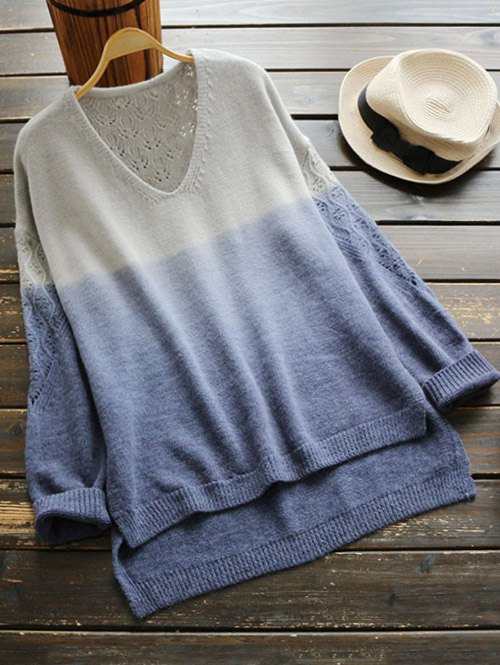 V Neck Ombre High Low Sweater