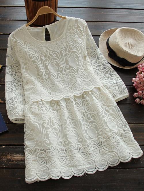3/4 Sleeve Embroidered Mini Dress