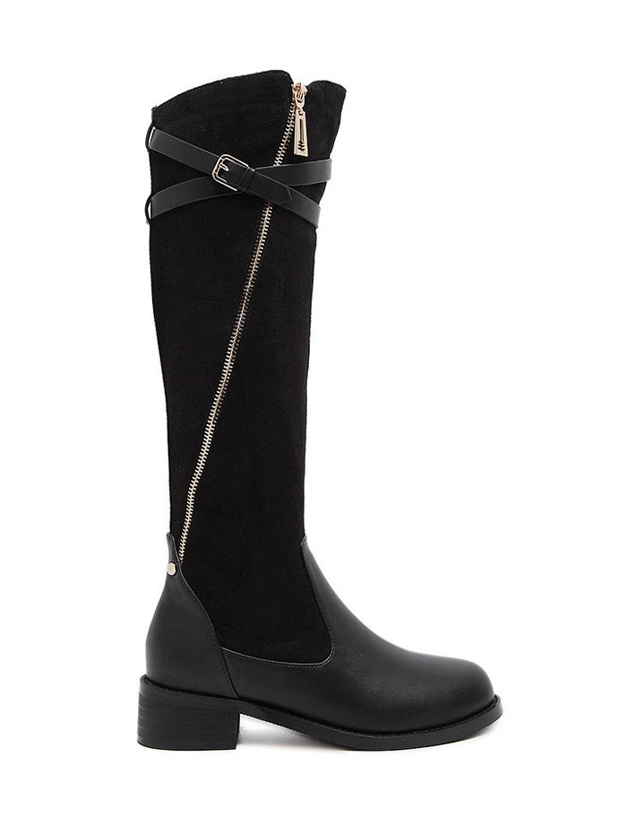 Cross Straps Buckle Boots
